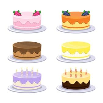 Pastel de cumpleaños aislado sobre fondo blanco.
