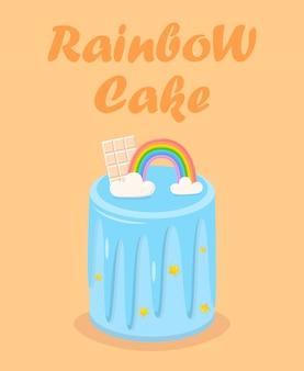 Pastel de cumpleaños del arco iris con chocolate, glaseado, estrella.