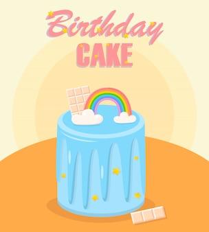 Pastel de cumpleaños con arcoiris, barra de chocolate.