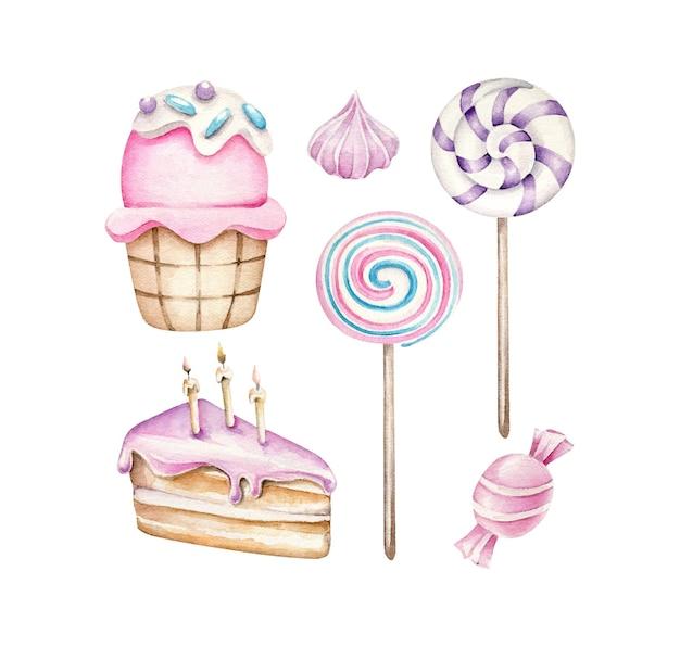 Pastel de cumpleaños caramelo cupcake piruleta