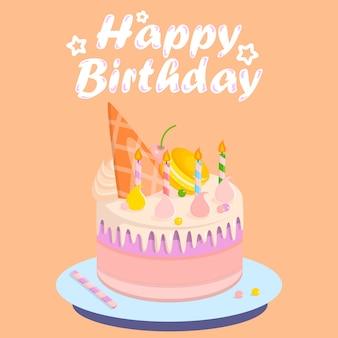 Pastel de cumpleaños con conchas de diferentes colores.