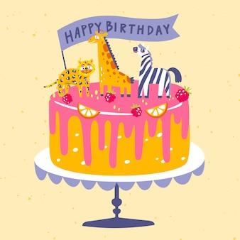 Pastel de cumpleaños dibujado a mano con adorno