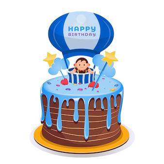 Pastel de cumpleaños de dibujos animados con adorno