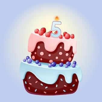 Pastel de cumpleaños de dibujos animados lindo de 5 años con vela número cinco