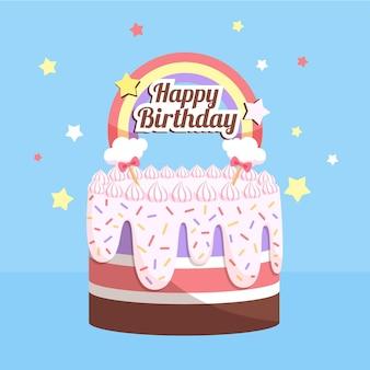 Pastel de cumpleaños de diseño plano con adorno