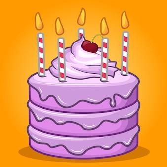 Pastel de cumpleaños dulce stock vector con vela