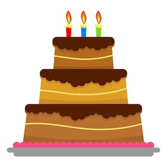 Pastel de cumpleaños dulce con tres velas encendidas. postre de vacaciones colorido. fondo de celebración de vector.