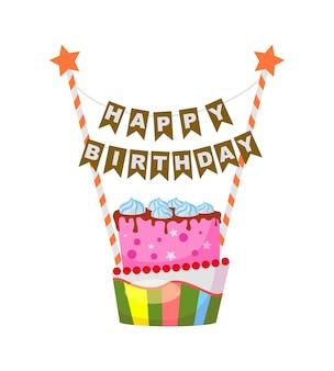 Pastel de cumpleaños en estilo de dibujos animados