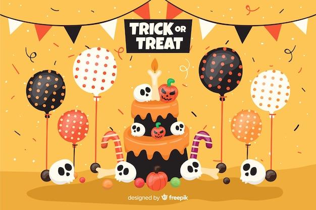 Pastel de cumpleaños de fondo plano de halloween con globos