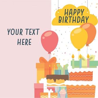 Pastel de cumpleaños y globos
