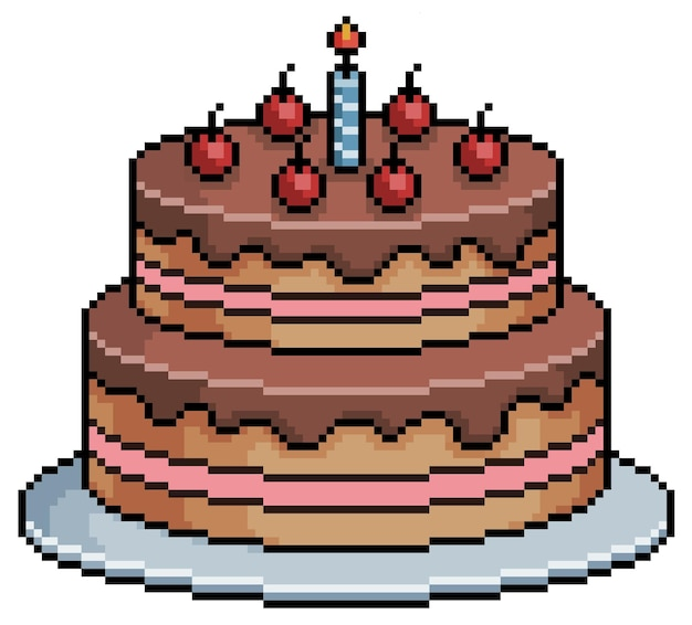 Pastel de cumpleaños de pixel art. elemento de juego de bits