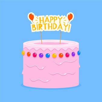 Pastel de cumpleaños plano con adorno
