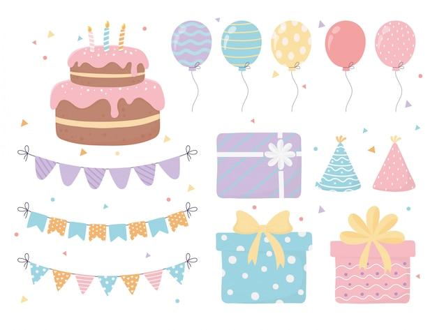 Pastel de cumpleaños sombreros cajas de regalo globos banderines confeti celebración fiesta decoración