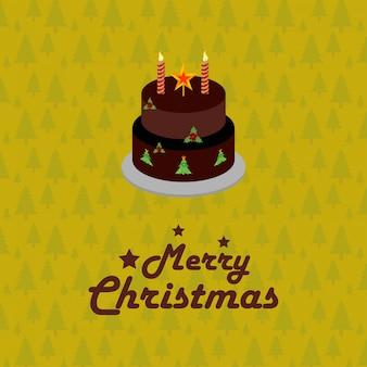 Pastel de cumpleaños tarjeta de navidad