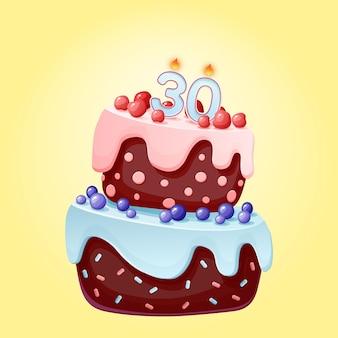 Pastel de cumpleaños de treinta años con velas. caricatura festiva. galleta de chocolate con frutos rojos, cerezas y arándanos