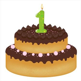 Pastel de cumpleaños con velas con el número uno, sobre fondo blanco, ilustración