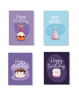 Pastel de cupcake y sombrero de feliz cumpleaños concepto
