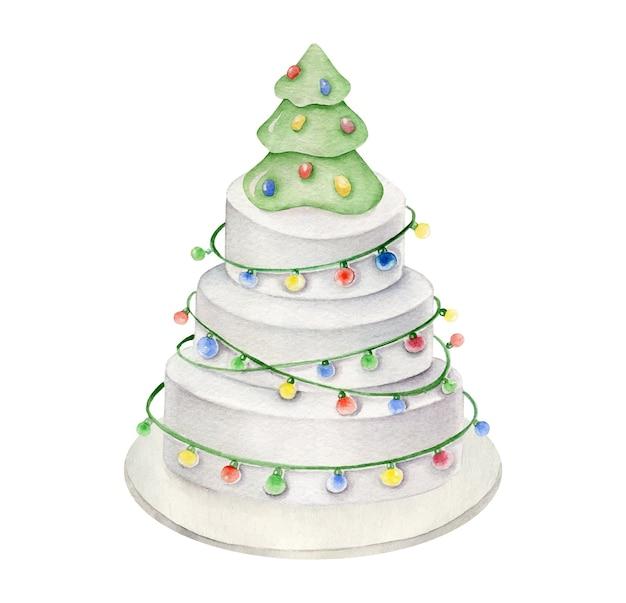 Pastel decorativo de año nuevo postre de navidad.
