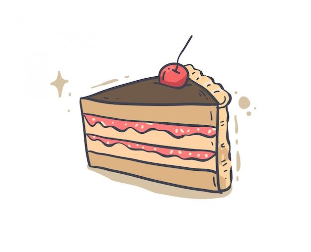Pastel dibujado a mano. ilustración de vector de pastel