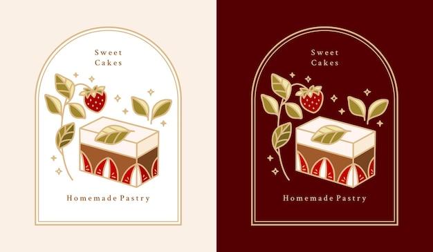 Pastel dibujado a mano, pastelería, elementos del logotipo de panadería con fresa, chocolate, rama de hoja y marco