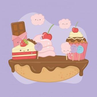 Pastel dulce de crema de chocolate con personajes kawaii.