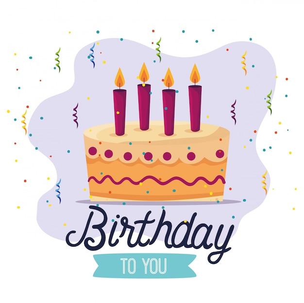 Pastel dulce con velas y decoración de cintas