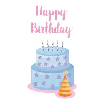 Pastel de feliz cumpleaños y sombrero
