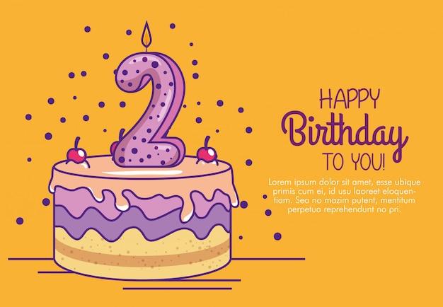Pastel de feliz cumpleaños con vela número dos