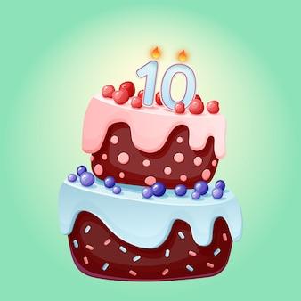 Pastel festivo de cumpleaños de 10 años de dibujos animados lindo con vela número diez