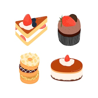 Pastel de fresa de cumpleaños, rebanada de pastel cortado, donas, elementos de la magdalena. ilustración de vector dibujado a mano.