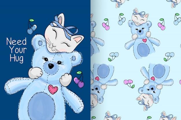 Pastel de gatito lindo con conjunto de vectores de patrón