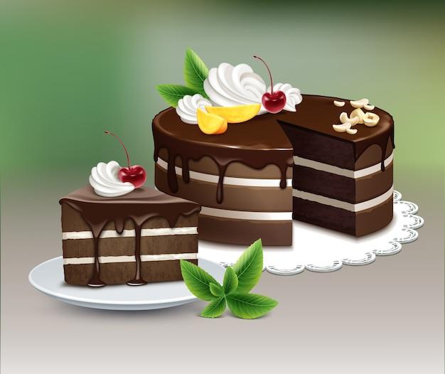 Pastel de hojaldre de chocolate de vector con glaseado, crema batida, nueces, frutas, cereza y menta en una servilleta de encaje blanco sobre fondo borroso