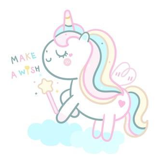 Pastel lindo unicornio con varita mágica