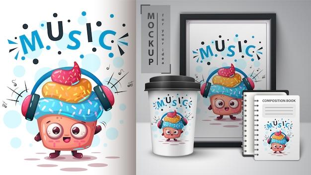 Pastel de música con cartel y merchandising.