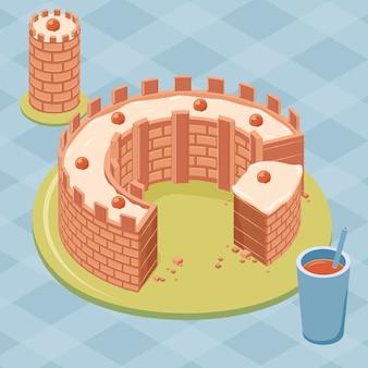 Pastel de oblea con forma de castillo