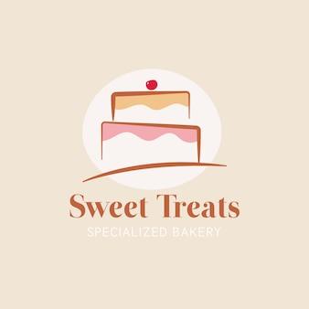 Pastel de panadería estilo logo con pastel