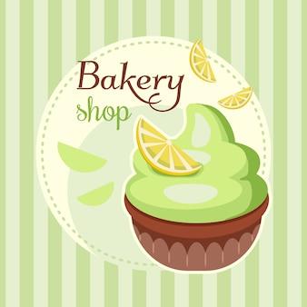 Pastel de panadería con fondo de crema batida