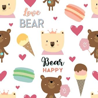 Pastel sin patrón con oso
