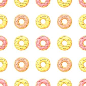 Pastel de patrones sin fisuras con postre de esmalte dulce de dibujos animados