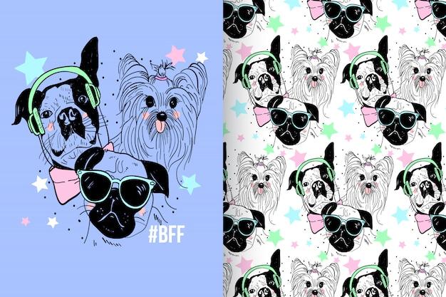 Pastel de perro lindo con conjunto de vectores de patrón