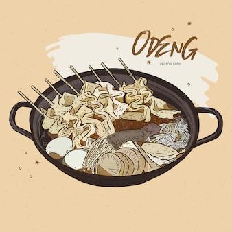Pastel de pescado de comida asiática.
