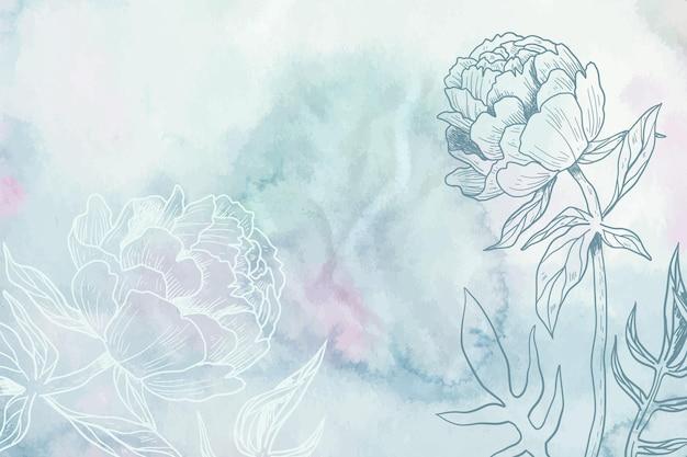 Pastel de polvo azul gris con fondo de flores dibujadas a mano