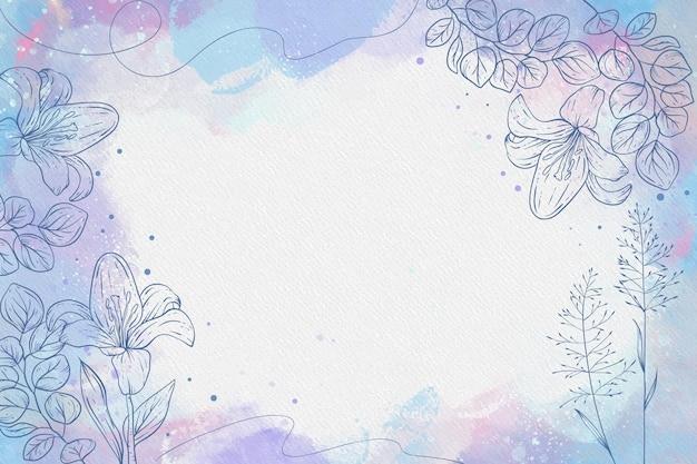 Pastel en polvo con fondo de flores dibujadas a mano