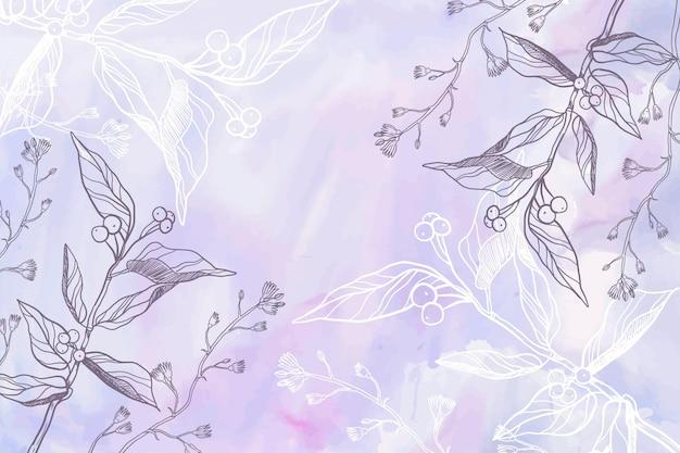 Pastel de polvo púrpura con fondo de flores dibujadas a mano