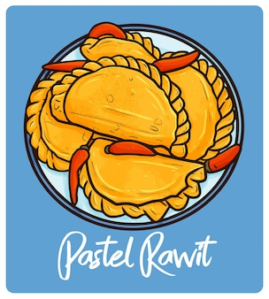 Pastel rawit un bocadillo indonesio en estilo doodle