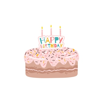 Pastel rocía y glaseado rosa con fiesta de cumpleaños con velas y la inscripción. ilustración plana aislada en estilo de dibujos animados simple sobre un fondo blanco.