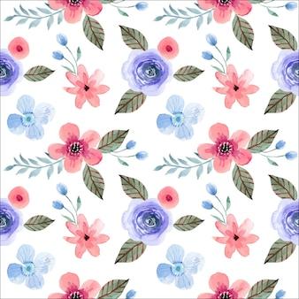 Pastel rosa y azul lindo floral acuarela de patrones sin fisuras