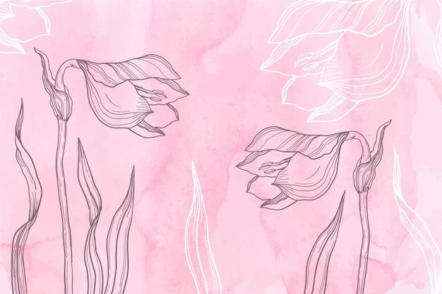 Pastel rosa en polvo con fondo de flores dibujadas a mano