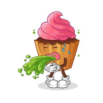 Pastel de taza vomitar dibujos animados