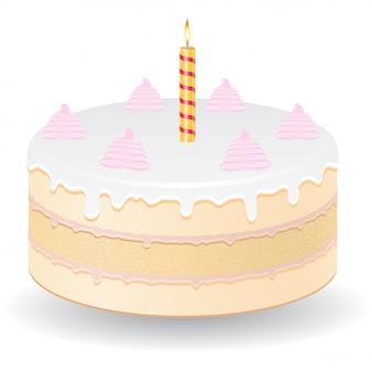 Pastel con vela ardiente ilustración vectorial